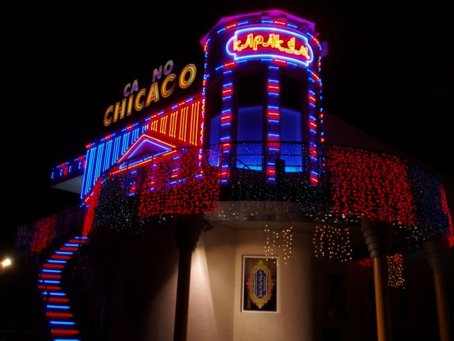 неоновые буквы Casino Chicago 2